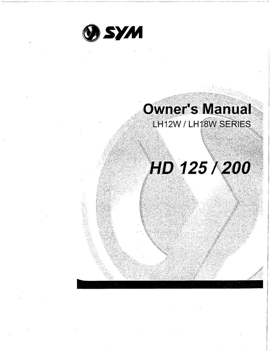Sym Hd200 I Owner S Manual Pdf Download Manualslib