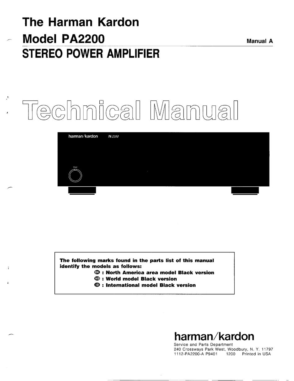 Harman Kardon Pa2200 Technical Manual Pdf Download Manualslib