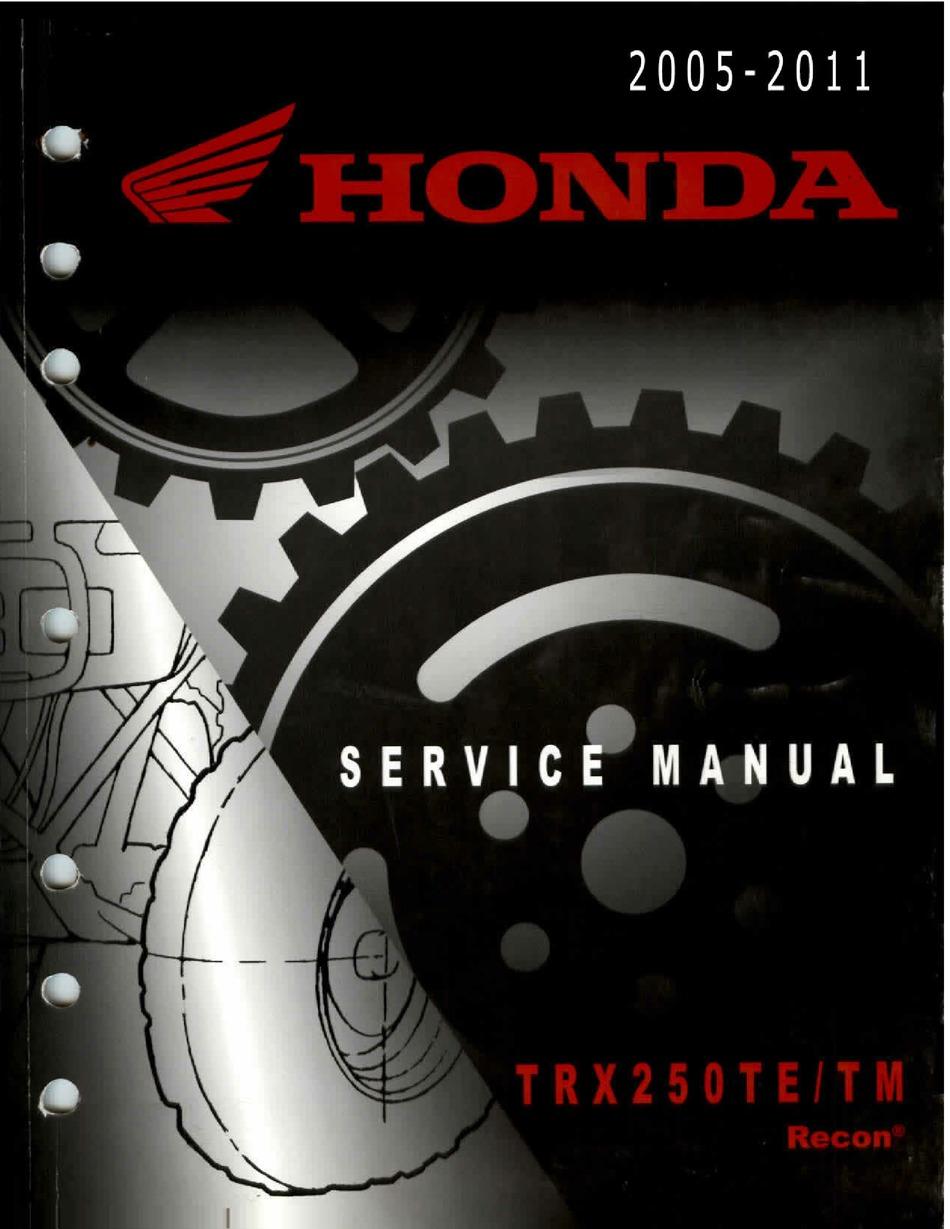 Honda Trx250te Service Manual Pdf Download Manualslib
