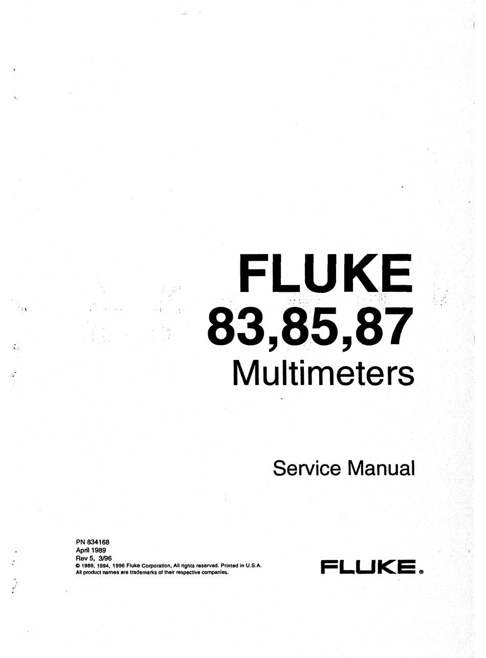 2-Vol Ops /& Service Manuals FLUKE 83 85 87 Multimeter