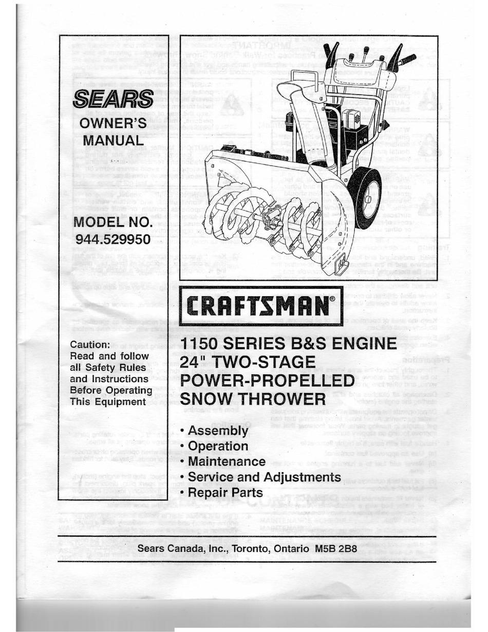 Craftsman 944 529950 Owner S Manual Pdf Download Manualslib