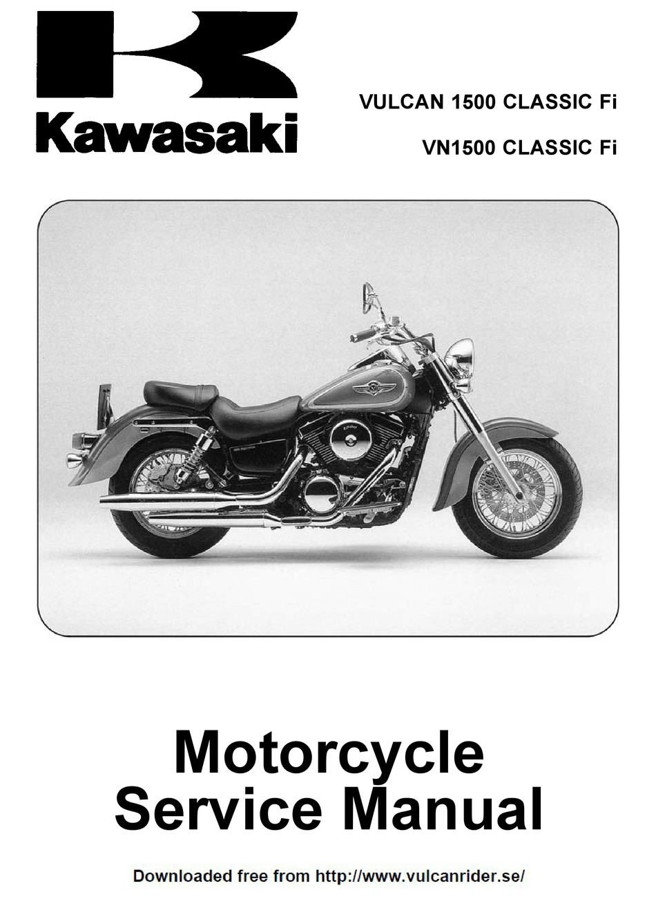 Kawasaki Vulcan 1500 Classic Fi Service Manual Pdf Download Manualslib