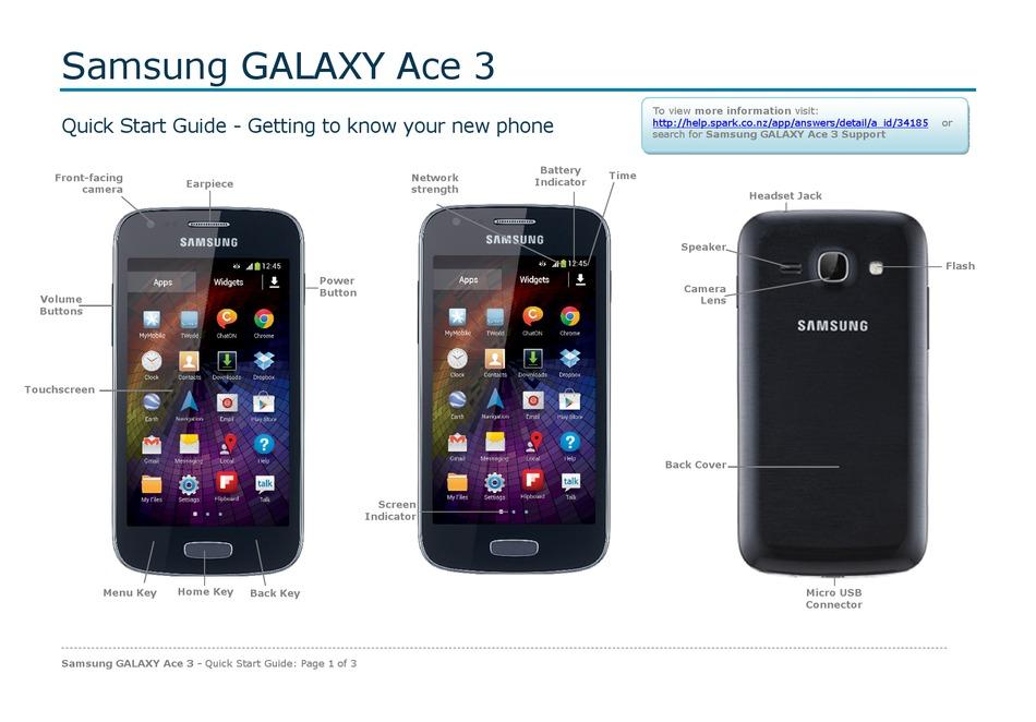 Samsung Galaxy Ace 3 Quick Start Manual Pdf Download Manualslib