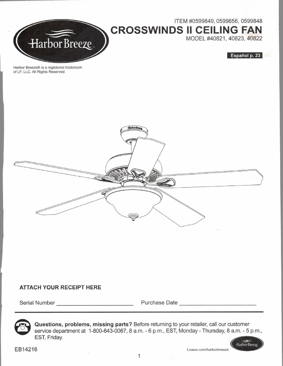 Harbor Breeze Crosswinds Ii 40821 Manual Pdf Download Manualslib