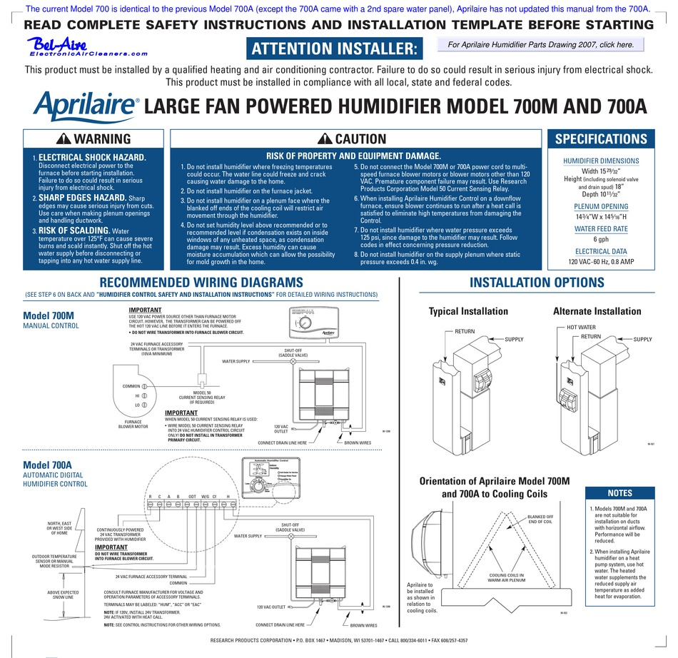 Aprilaire 700m Humidifier Wiring Diagram