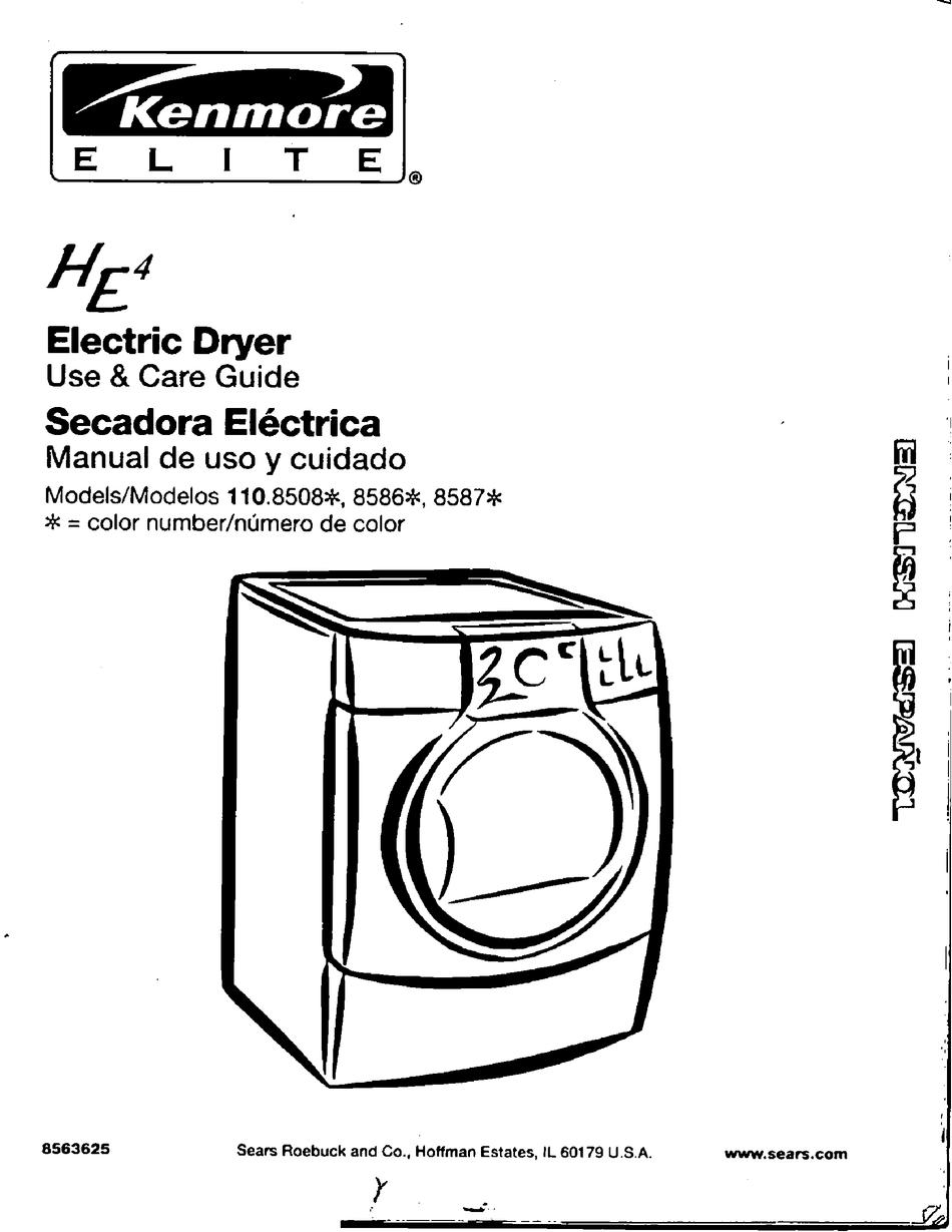 Kenmore Elite He4 110 8508 Series Use Care Manual Pdf Download Manualslib