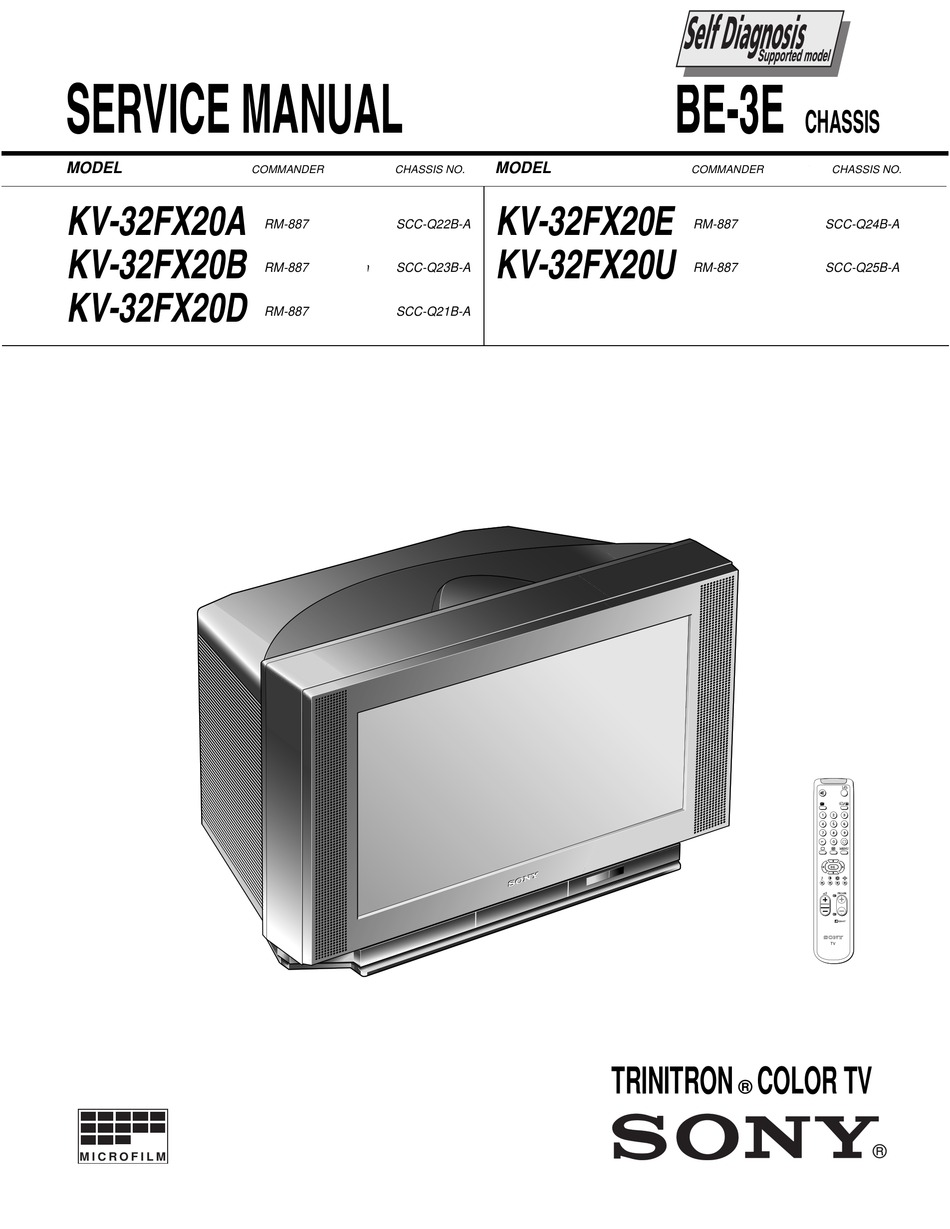 Sony Trinitron Kv 32fx20a Service Manual Pdf Download Manualslib