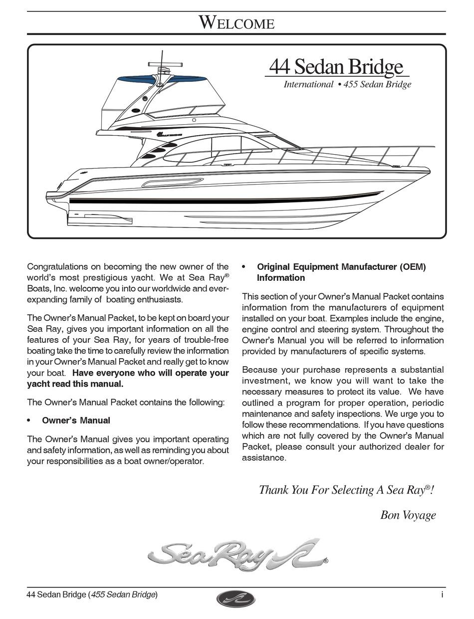 Sea Ray 44 Sedan Bridge Owner S Manual Pdf Download Manualslib