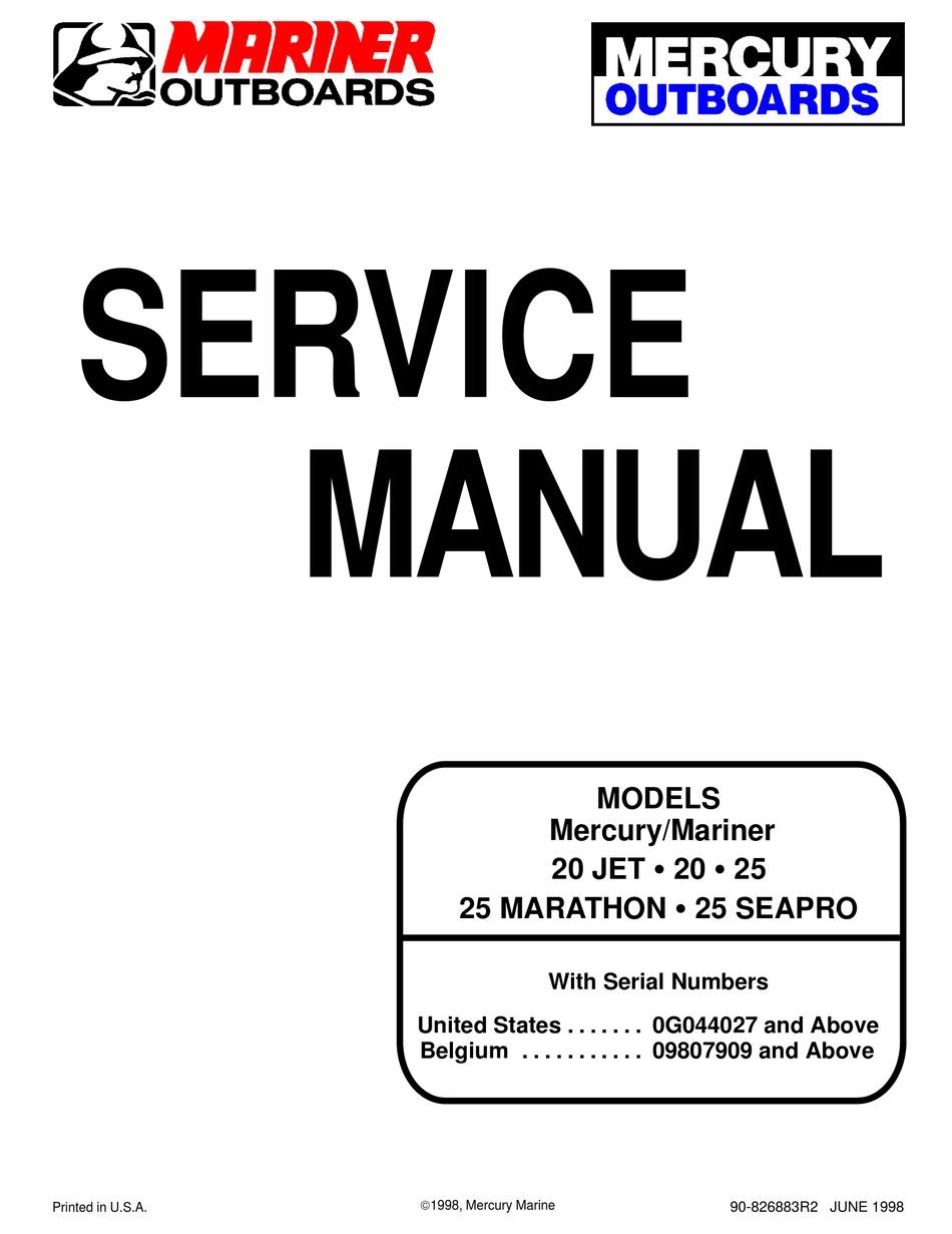 Mercury Mariner 25 Marathon Service Manual Pdf Download Manualslib