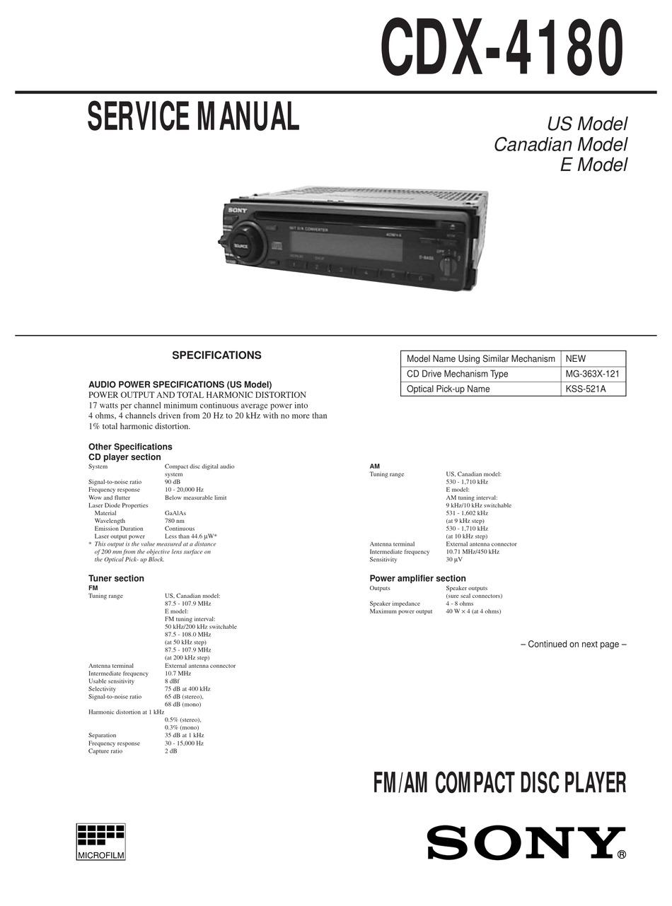 Sony Cdx 4180 Service Manual Pdf