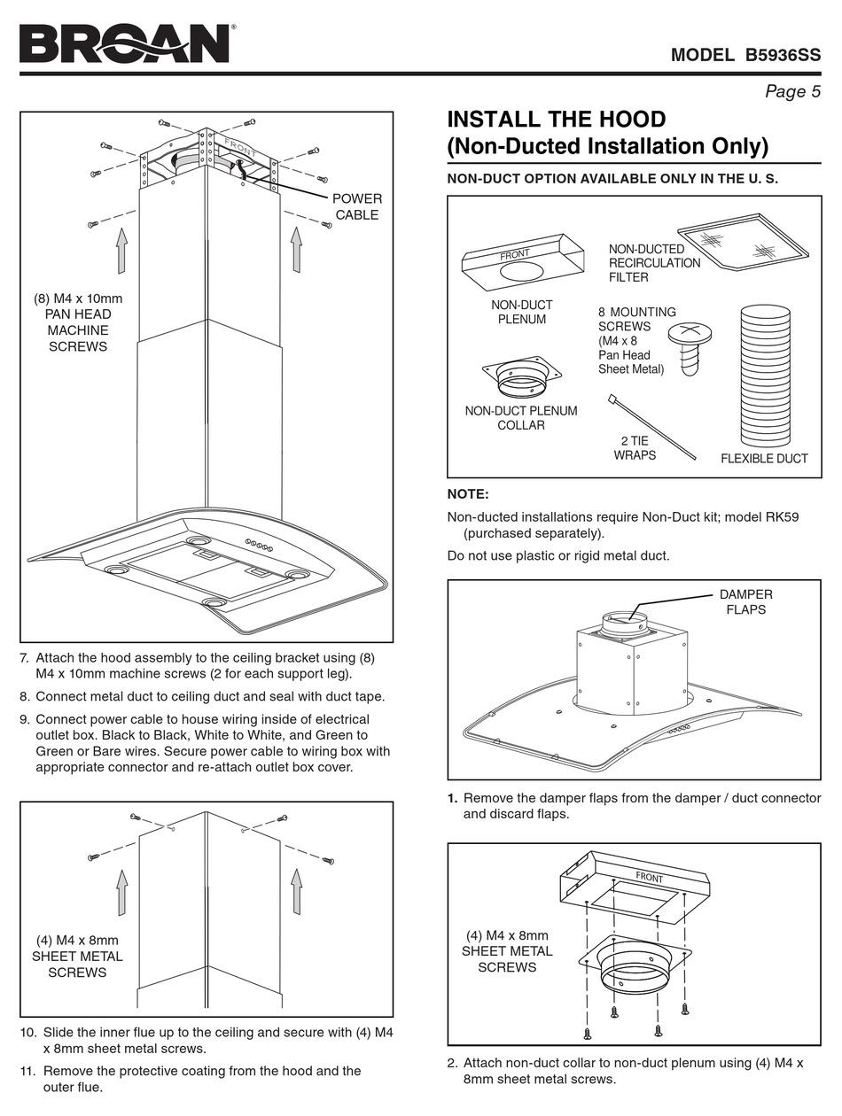 BROAN B5936SS INSTALLATION MANUAL Pdf Download | ManualsLibManualsLib