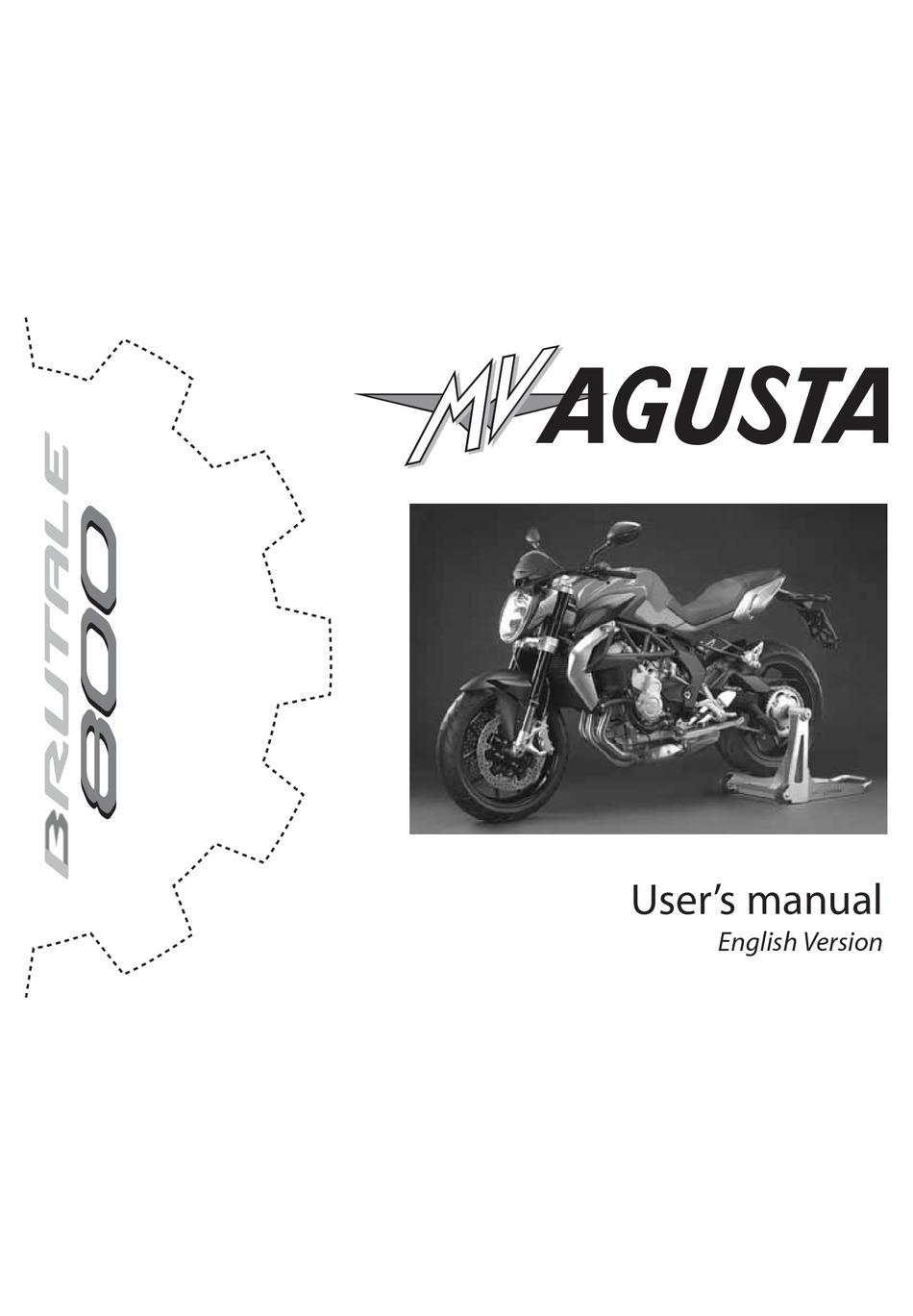 Mv Agusta Brutale 800 User Manual Pdf Download Manualslib