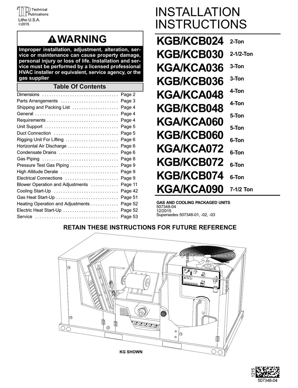 Lennox Kgb024 Installation Instructions