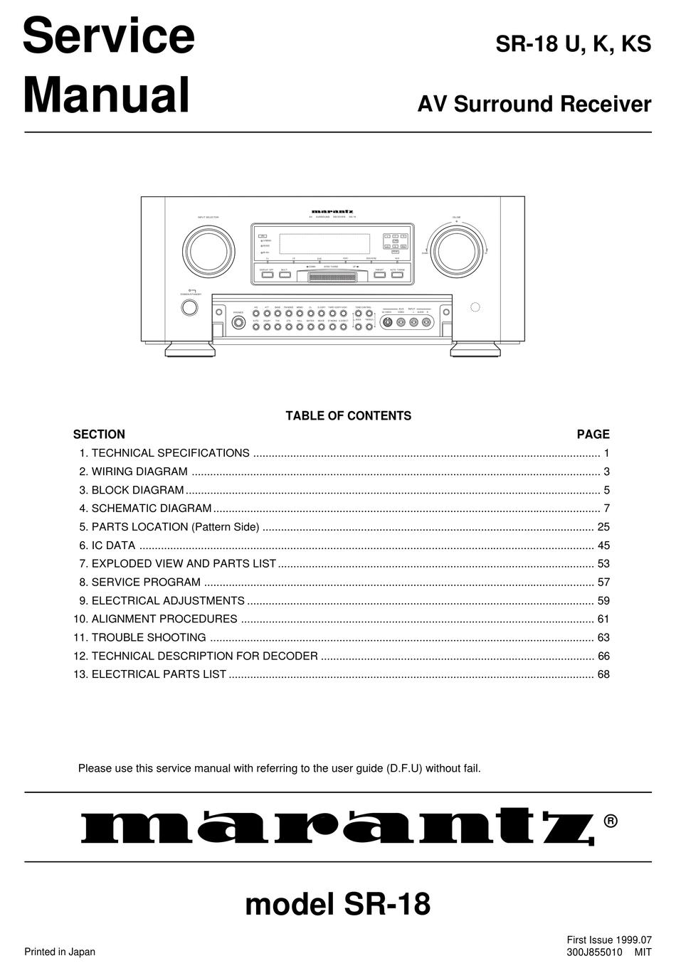 Marantz Sr 18 U Service Manual Pdf Download Manualslib