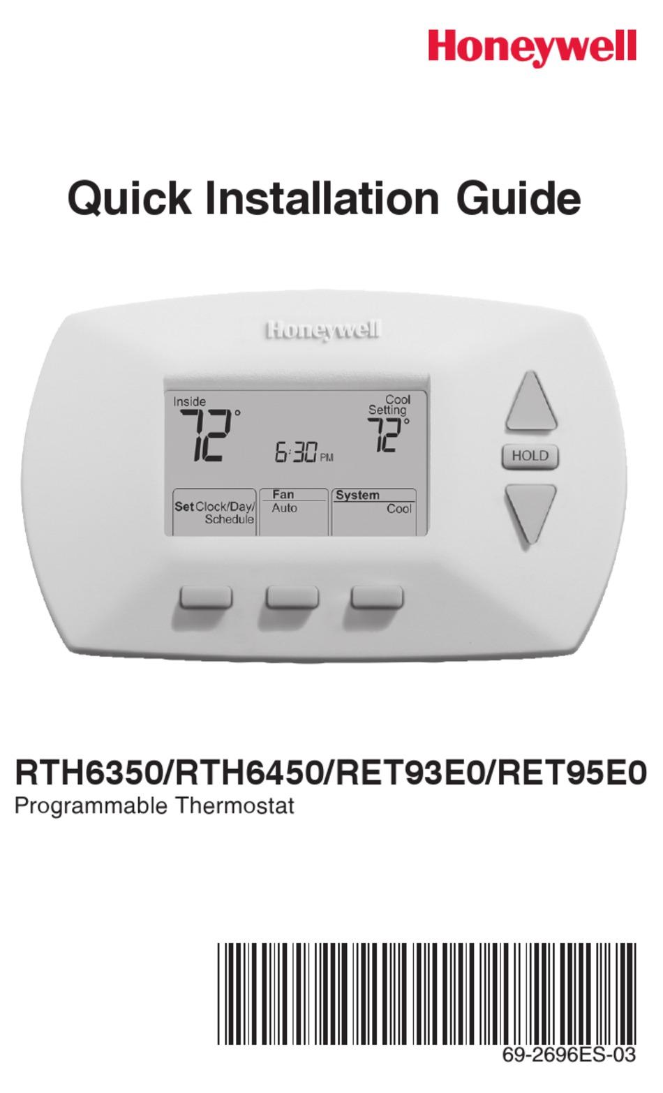 HONEYWELL RTH6350 QUICK INSTALLATION MANUAL Pdf Download | ManualsLibManualsLib