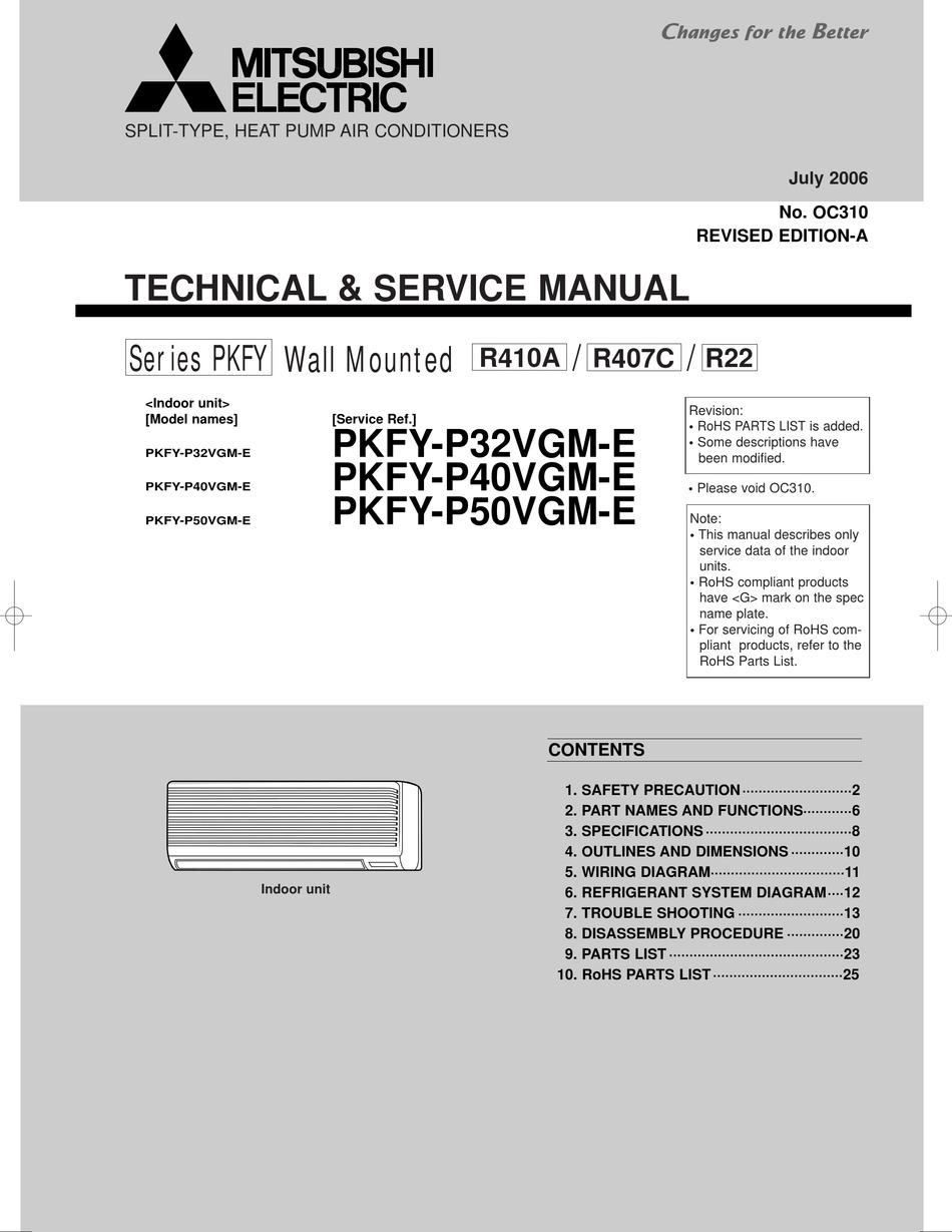 Mitsubishi Electric Pkfy P32vgm E Technical Service Manual Pdf Download Manualslib