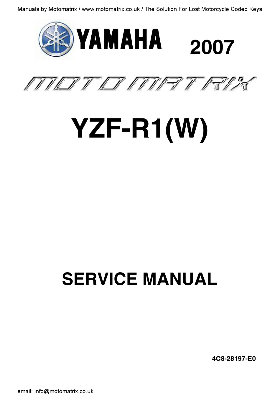 Yamaha Yzf R1 2007 Service Manual Pdf Download Manualslib