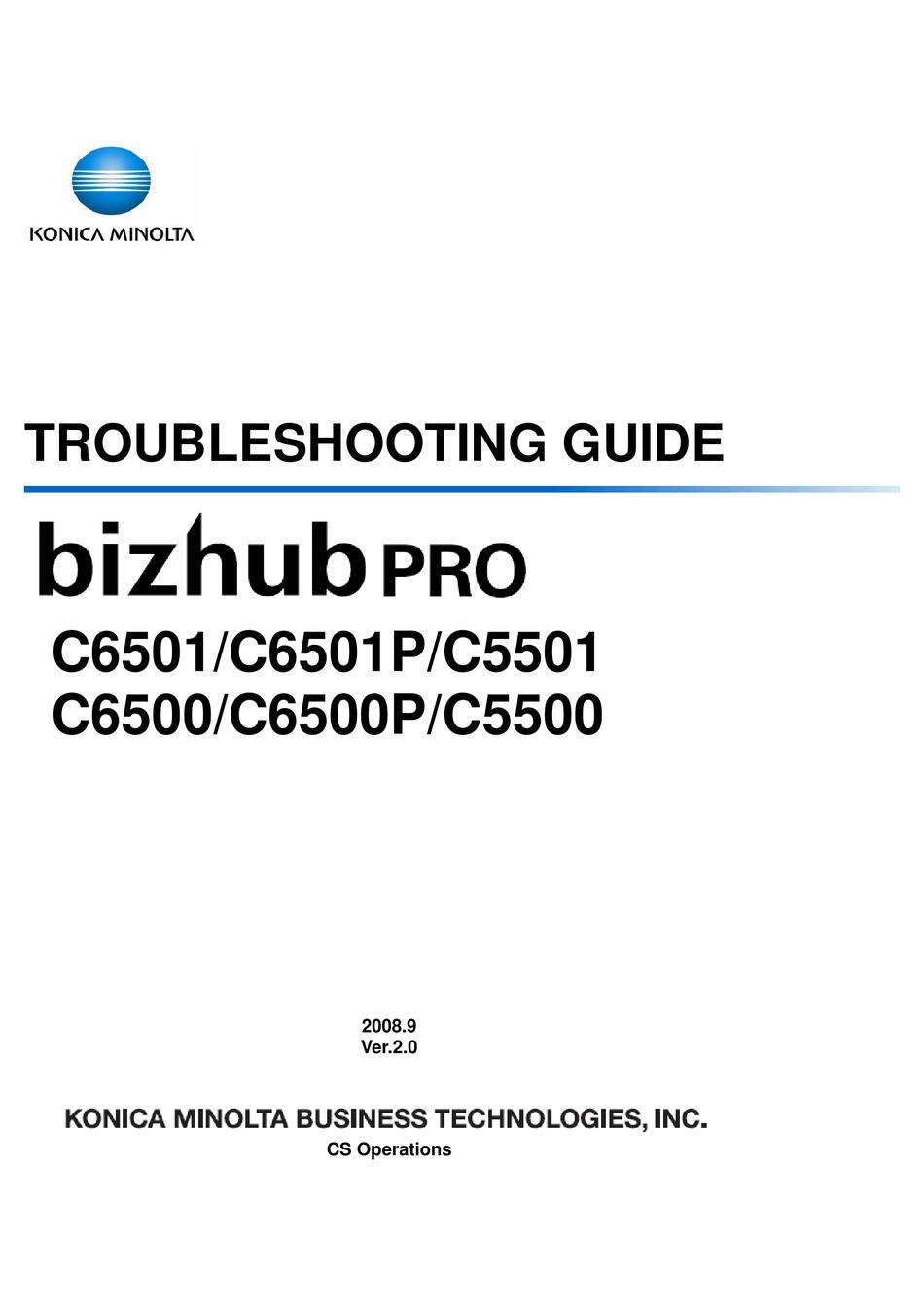 Konica Minolta Bizhub Pro C6501 Troubleshooting Manual Pdf Download Manualslib