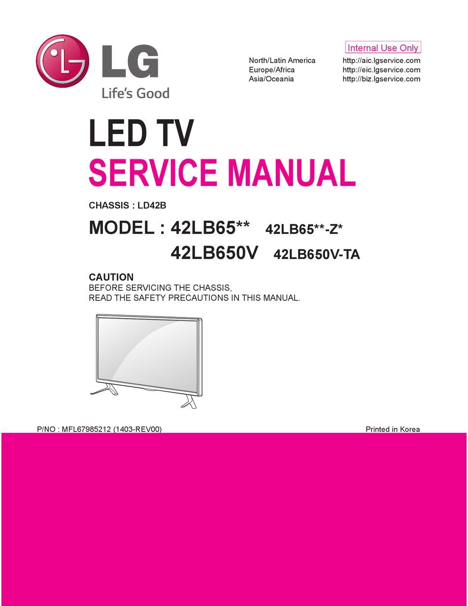 Lg 42lb65 Series Service Manual Pdf Download Manualslib