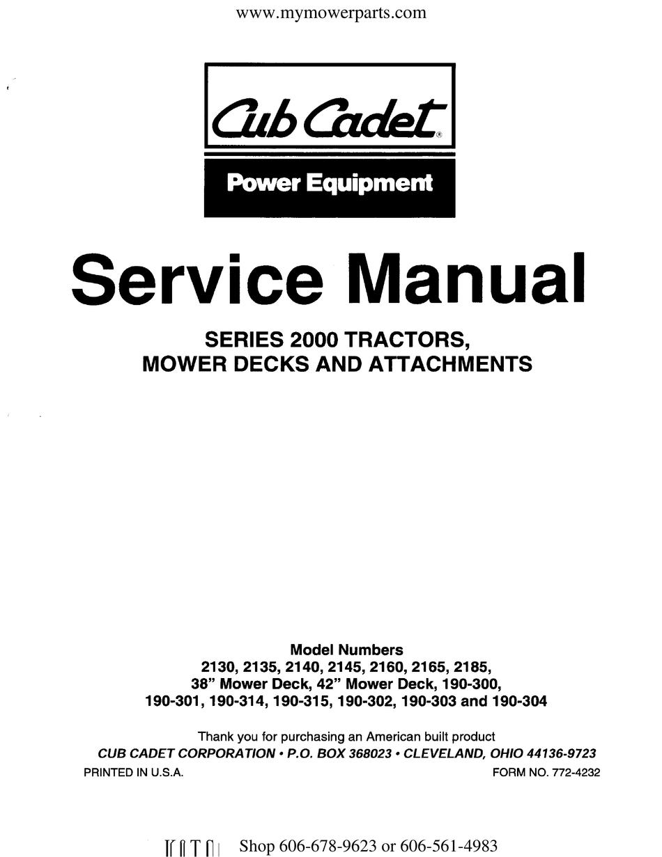 CUB CADET 2130 SERVICE MANUAL Pdf Download | ManualsLib