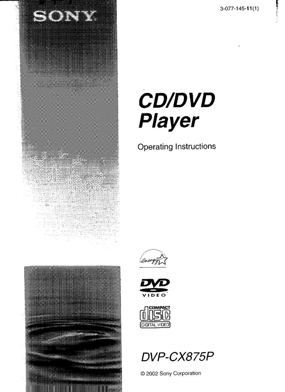 Sony Dvp Cx875p Operating Instructions Manual Pdf Download Manualslib
