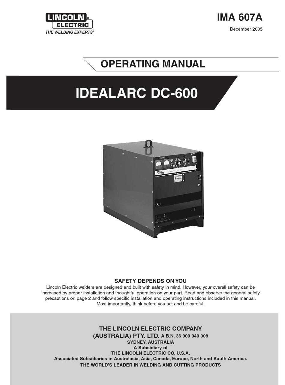 lincoln electric idealarc dc-600 operating manual pdf download   manualslib  manualslib