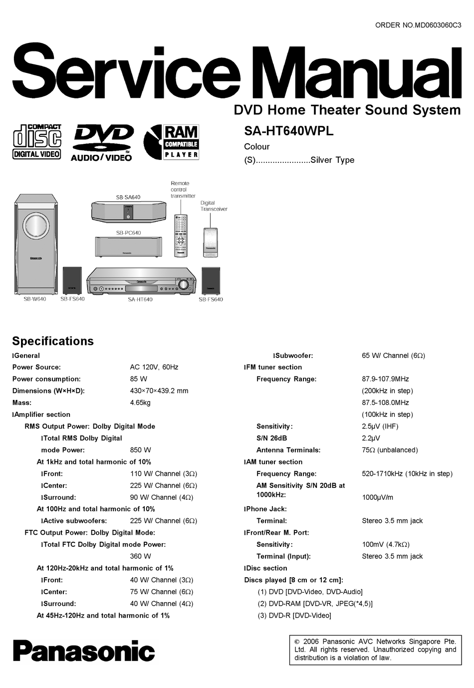 Panasonic Sa Ht640wpl Service Manual Pdf Download Manualslib