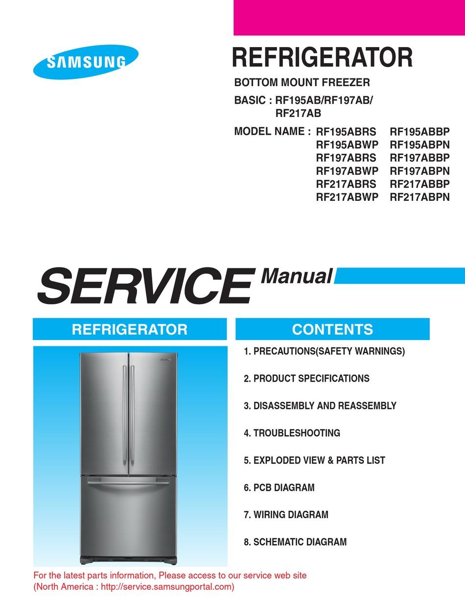 Samsung Rf195abrs Service Manual Pdf Download Manualslib