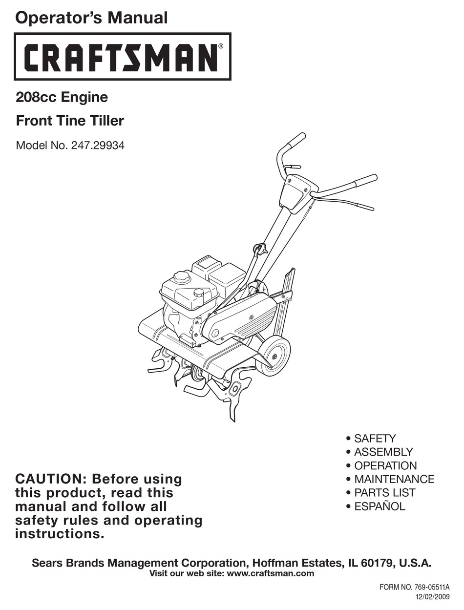 Craftsman 247 29934 Operator S Manual Pdf Download Manualslib
