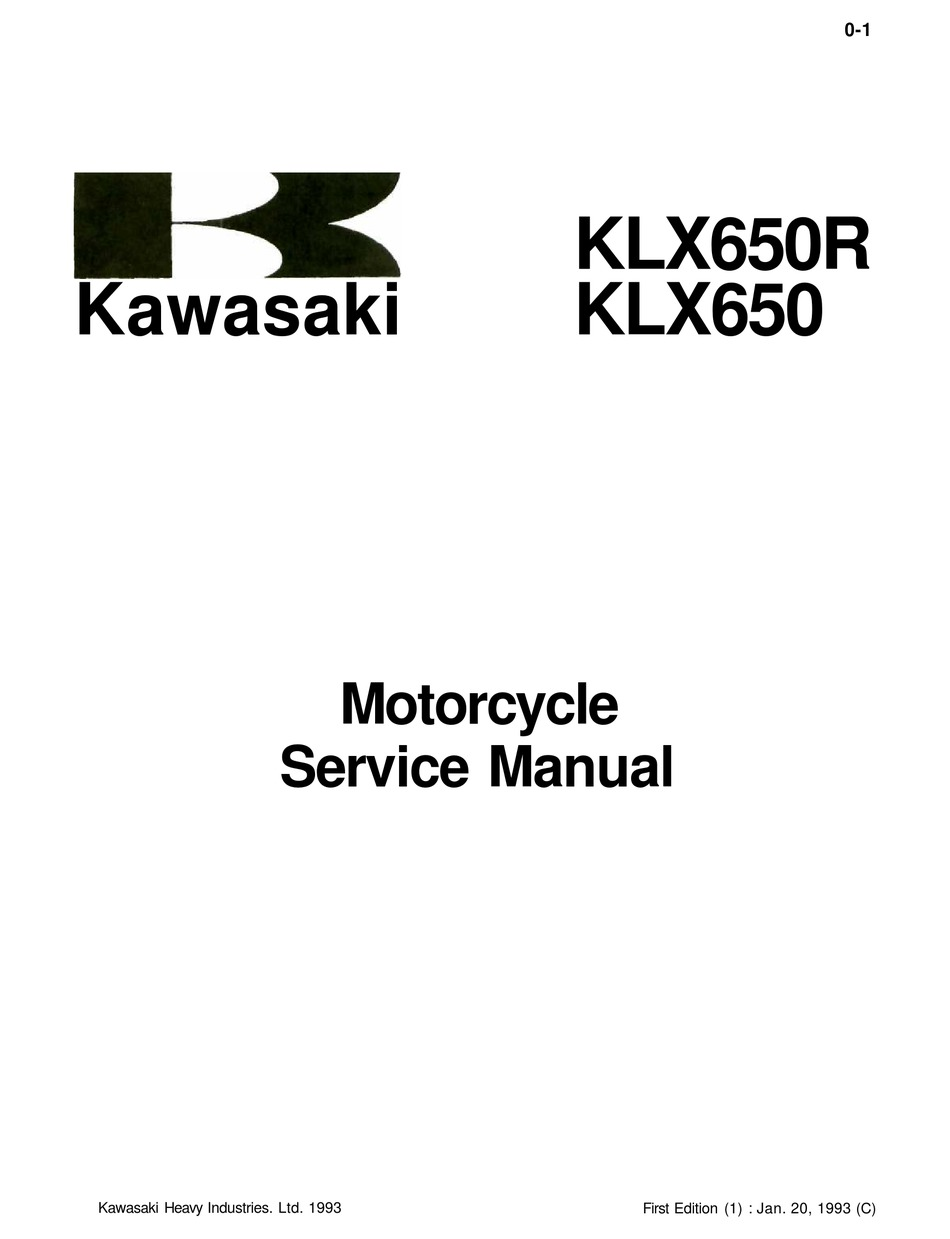 Kawasaki 1993 Klx650r Service Manual Pdf Download Manualslib