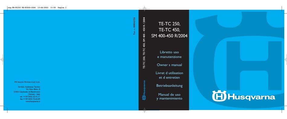 Husqvarna 2004 Te 250 Owner S Manual Pdf Download Manualslib