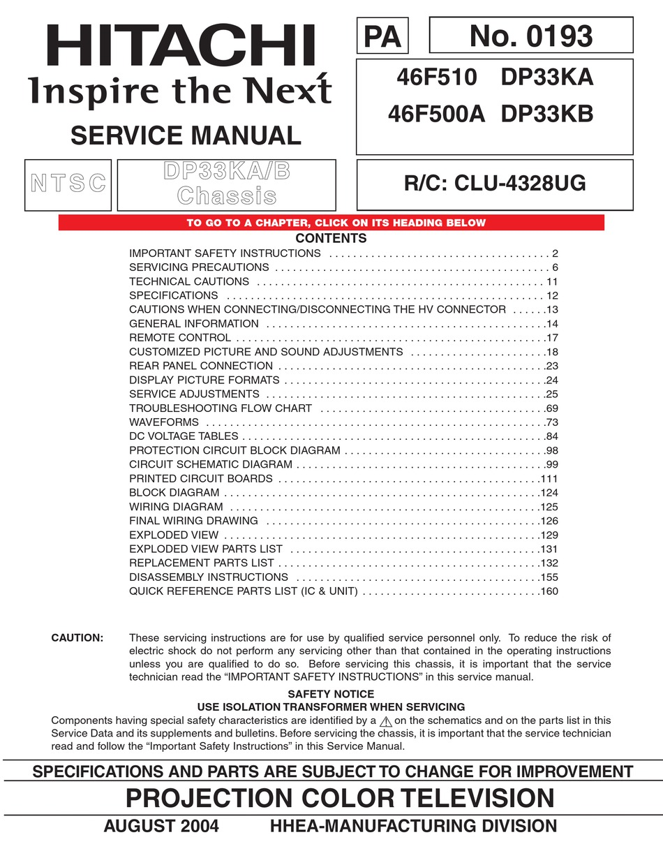 Hitachi 46f510 Service Manual Pdf Download Manualslib