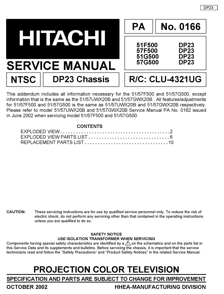 Hitachi 51f500 Dp23 Service Manual Pdf Download Manualslib