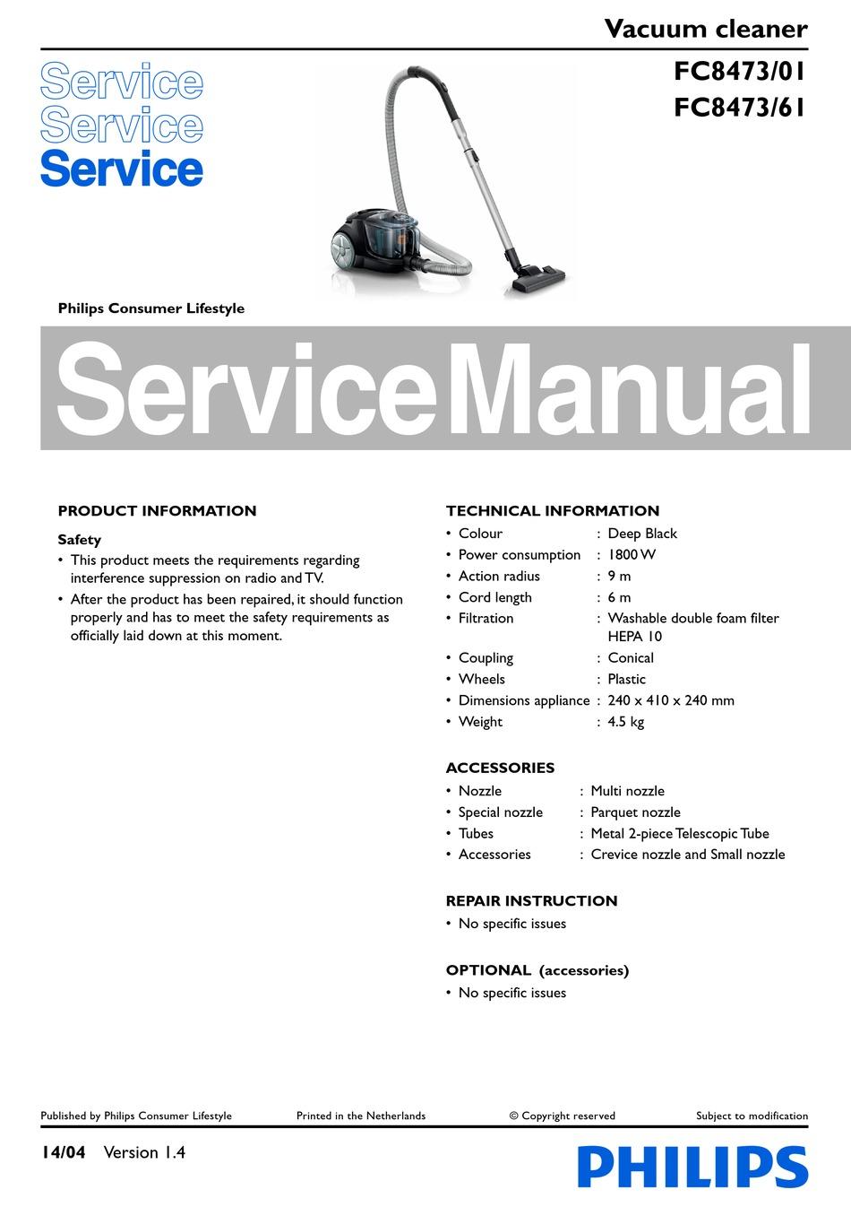 PHILIPS FC8473 SERVICE MANUAL Pdf Download | ManualsLib
