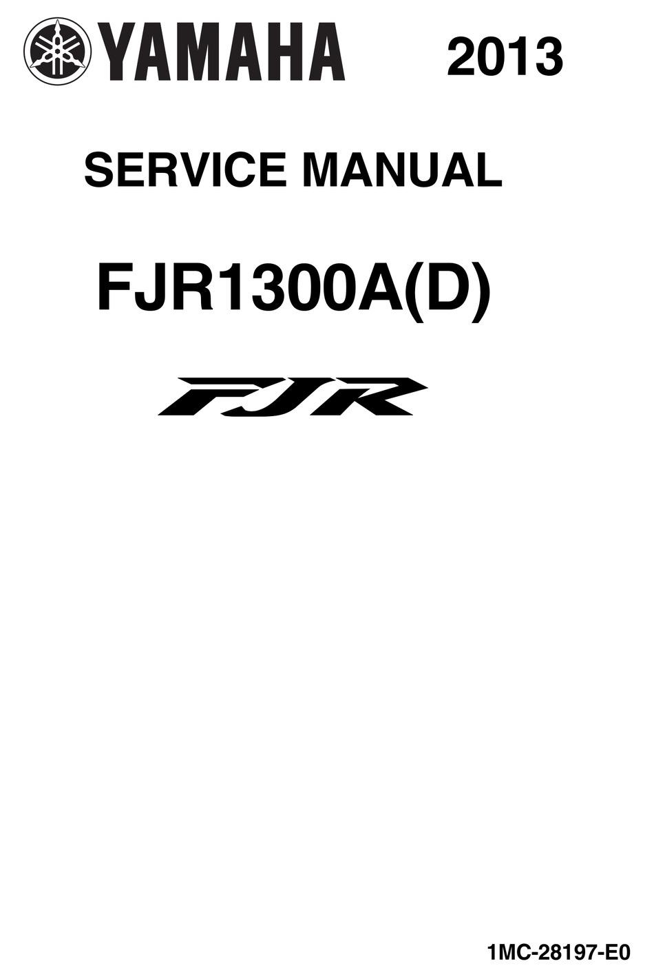 Yamaha Fjr1300a D Service Manual Pdf Download Manualslib