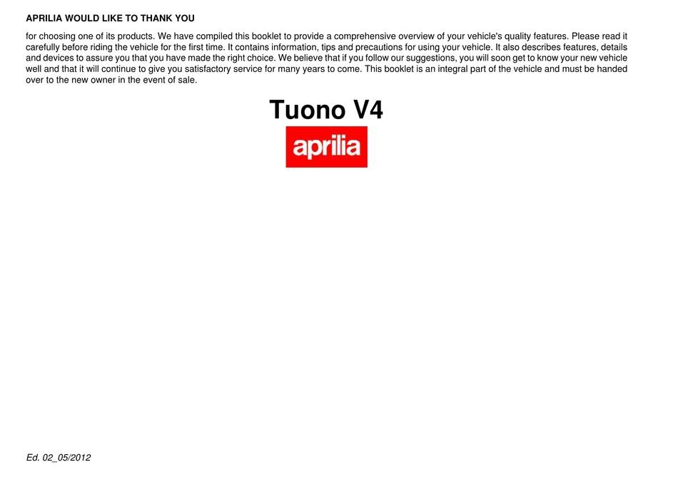 Aprilia Tuono V4 Owner S Manual Pdf Download Manualslib