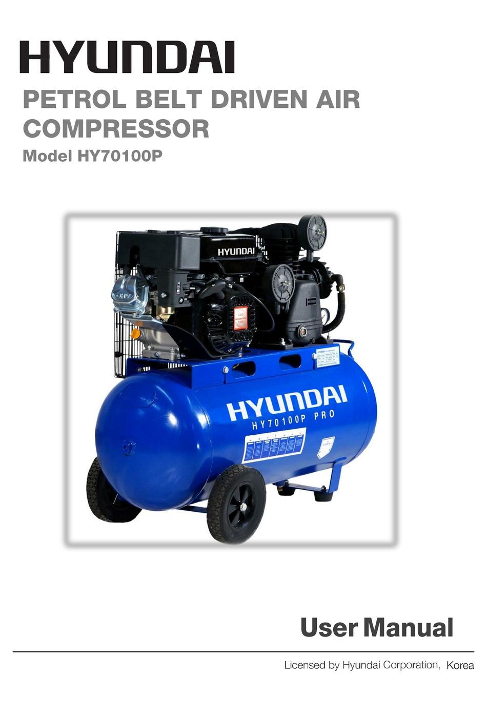 Air Compressor Hyundai Portal or Professional 90 LTR 15CFM 7 HP PETROL HY70100P
