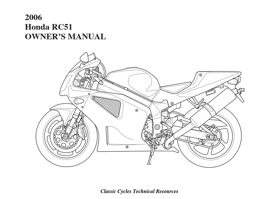 Honda 2006 Rc51 Owner S Manual Pdf Download Manualslib