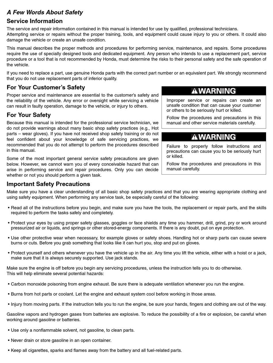 Honda Gl1800 Service Manual Pdf Download Manualslib