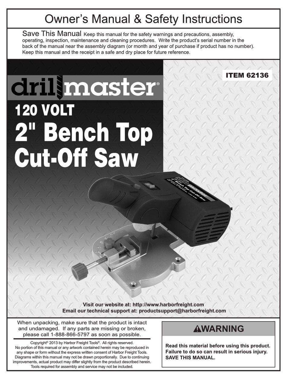 DRILL MASTER 62136 OWNER'S MANUAL AND SAFETY INSTRUCTIONS Pdf Download |  ManualsLibManualsLib