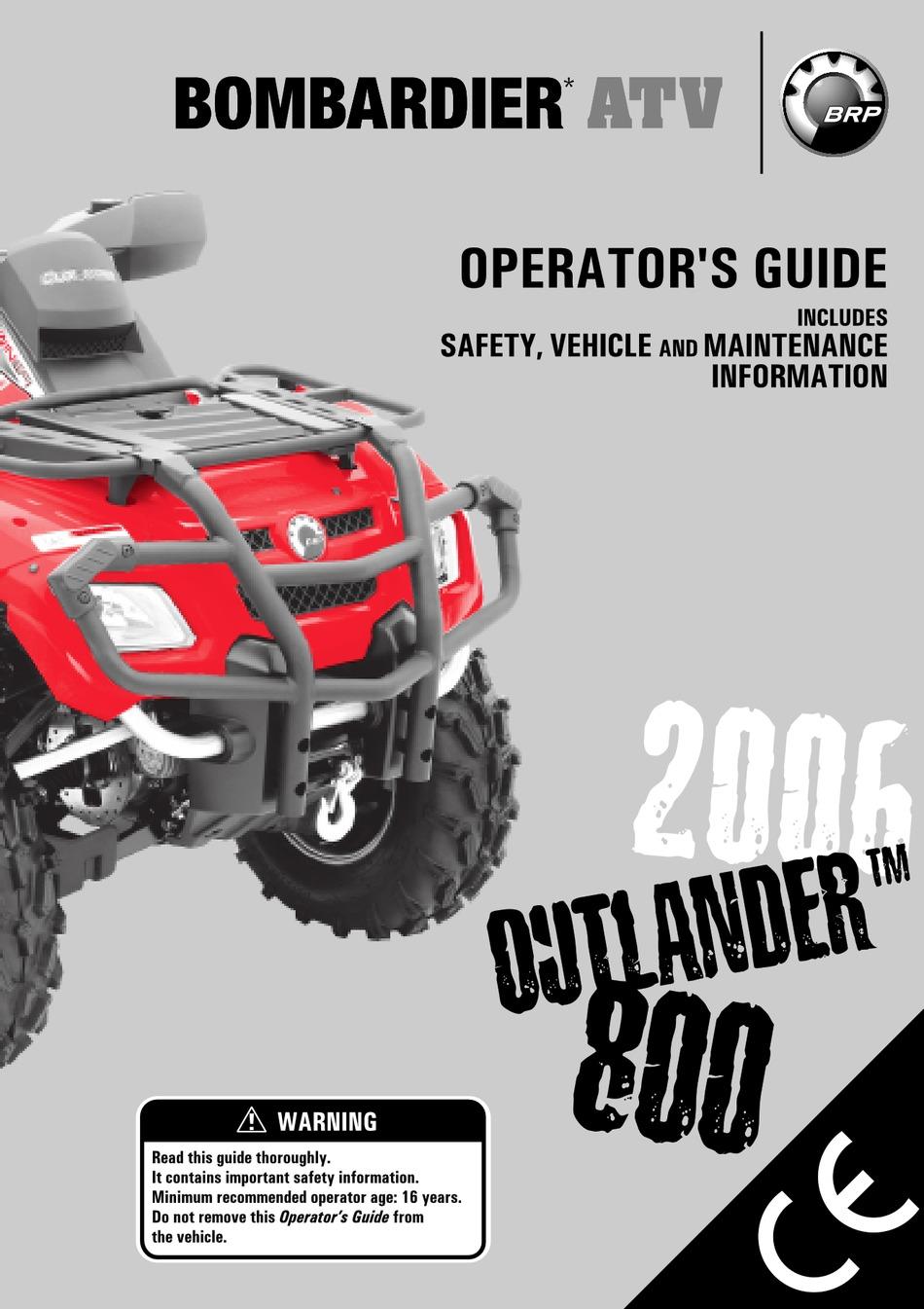 Bombardier Outlander 800 Operator S Manual Pdf Download Manualslib