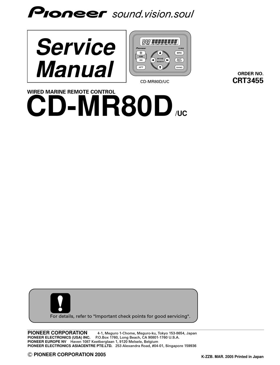 Pioneer CD-MR70 Marine-Use Remote Audio & Video Accessories Remote ...
