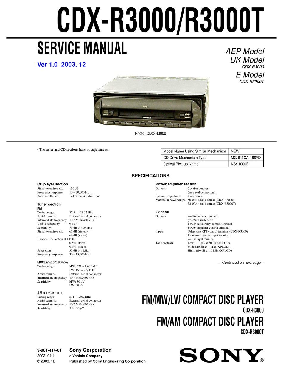 Sony Cdx R3000 Service Manual Pdf