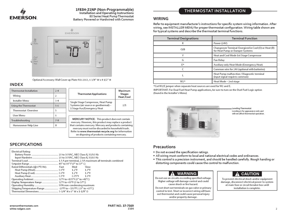 Emerson 1f83h 21np Installation And Operation Instructions Pdf Download Manualslib