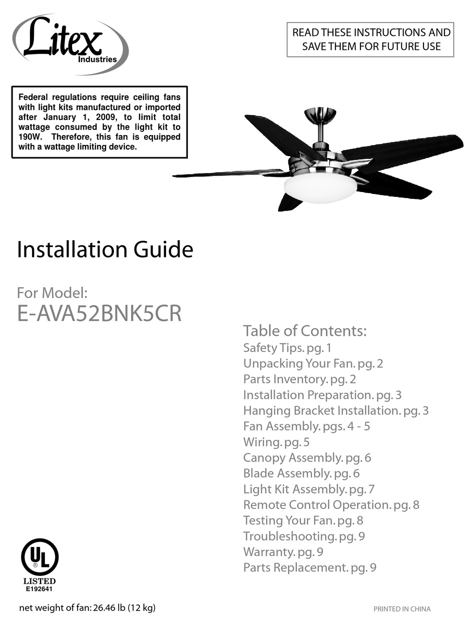 litex e ava52bnk5cr installation manual pdf download manualslib brushed chrome ceiling fan with light