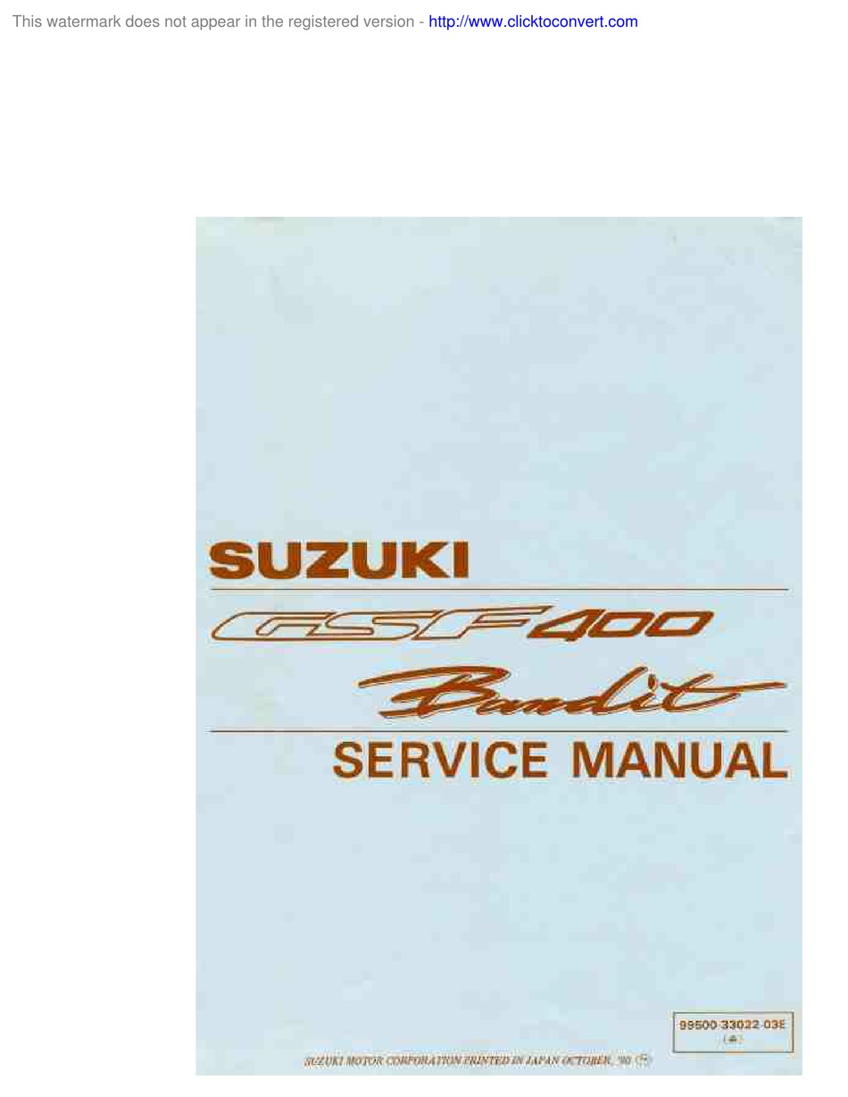 Suzuki Gsf 400 Bandit Service Manual Pdf Download Manualslib