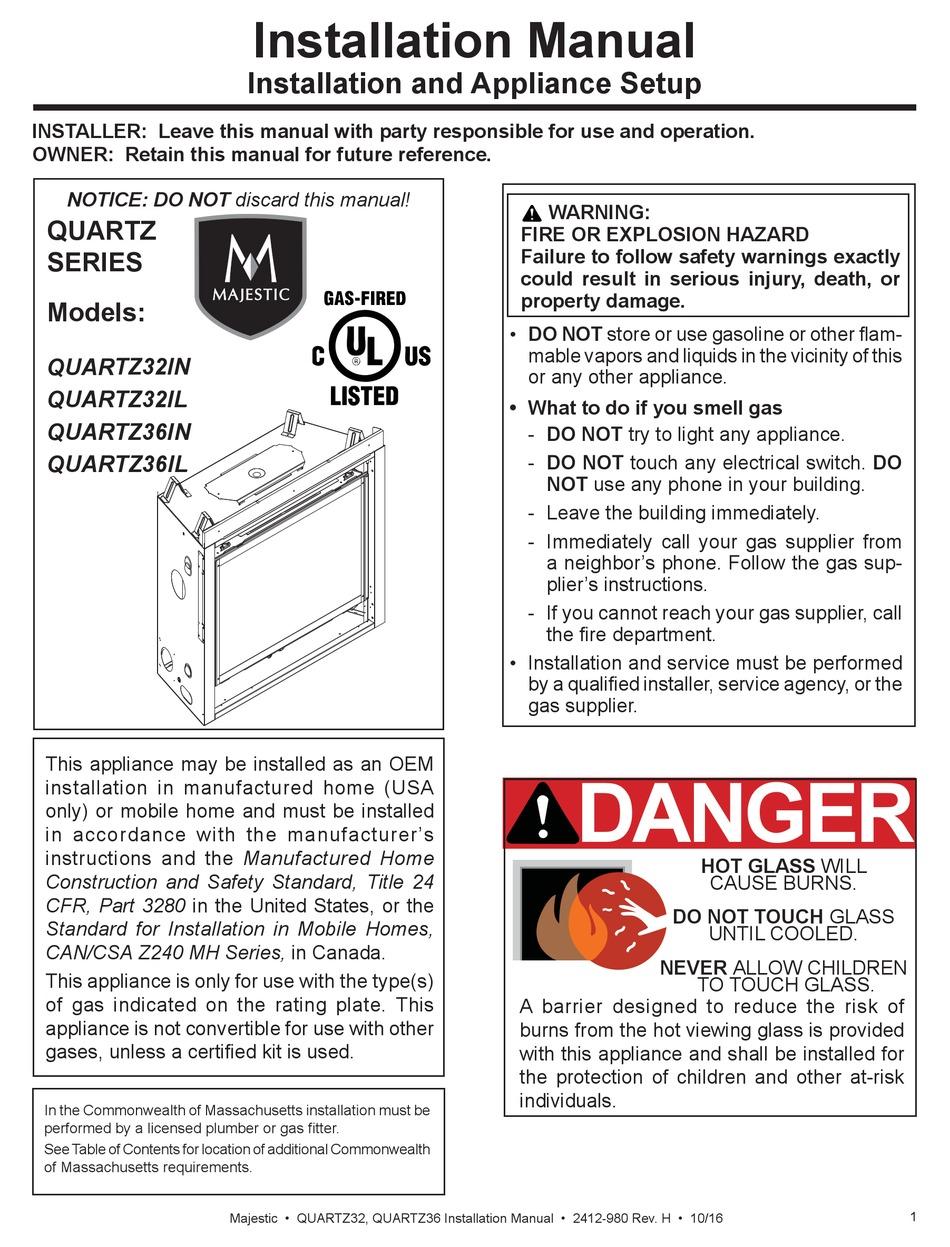 Majestic Fireplaces Quartz32in Installation Manual Pdf Download Manualslib