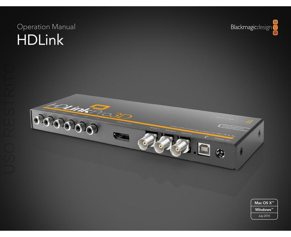 Blackmagicdesign Hdlink Pro Dvi Digital Operation Manual Pdf Download Manualslib