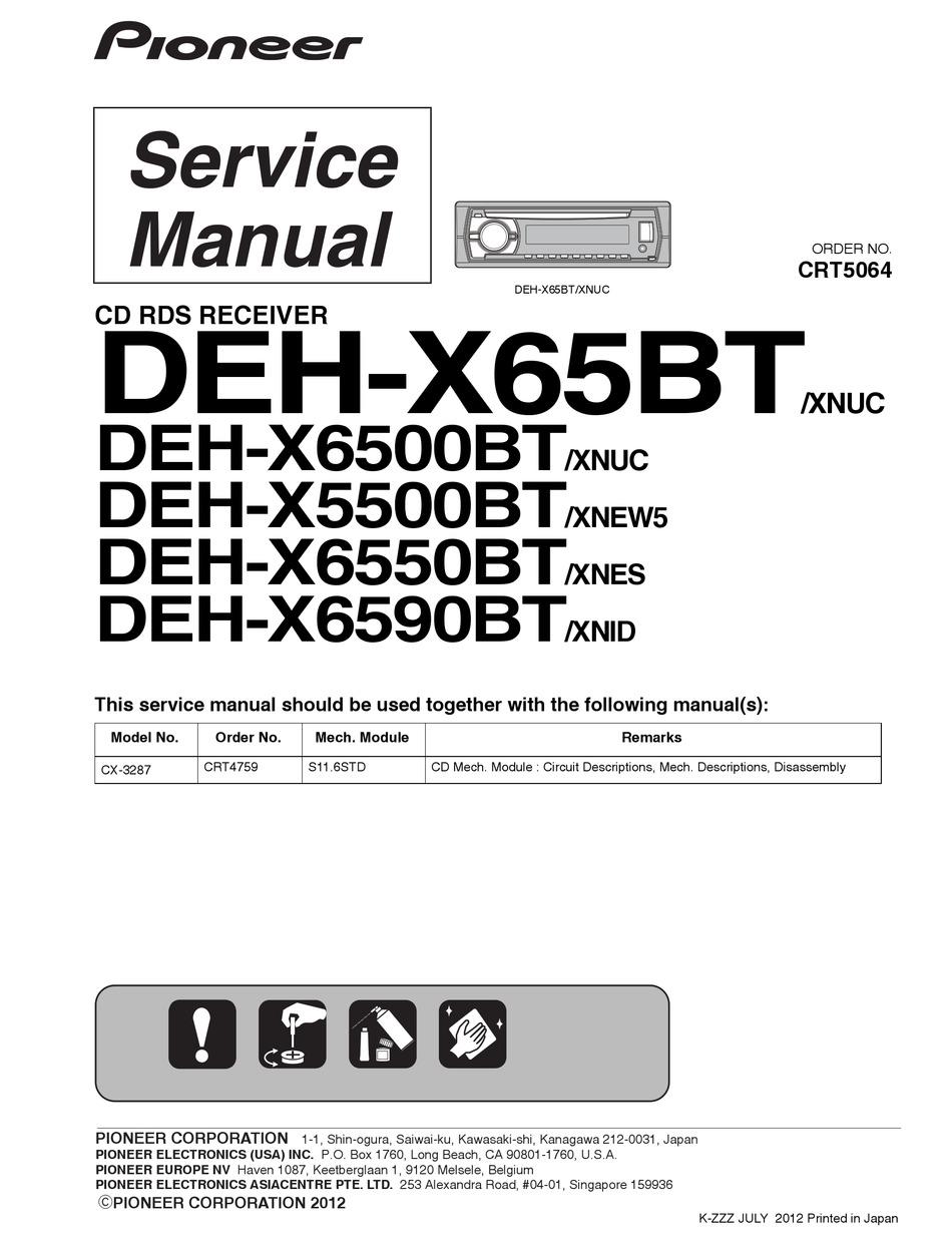 Pioneer Deh X65bt Service Manual Pdf Download Manualslib