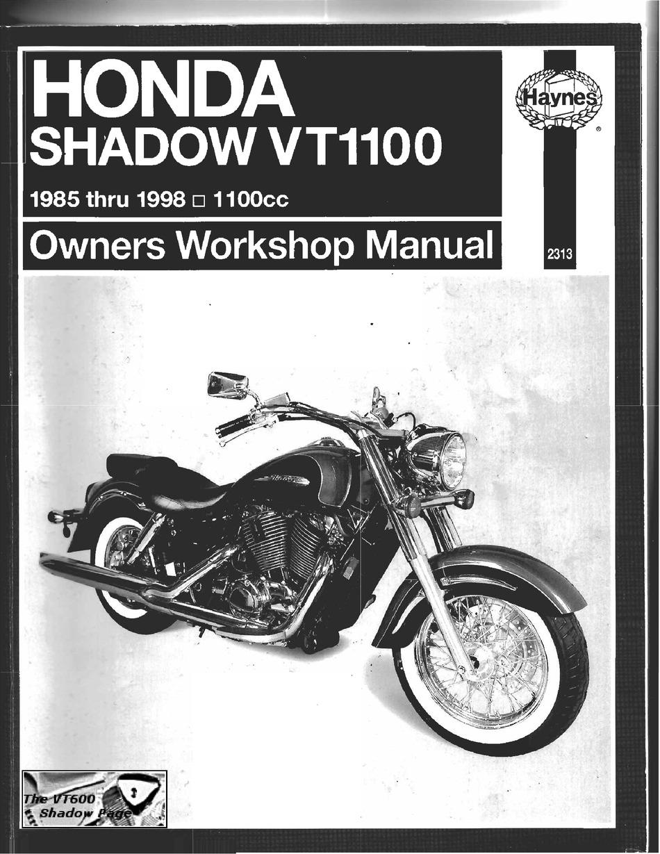 Honda Shadow Vt1100 Owners Workshop Manual Pdf Download Manualslib